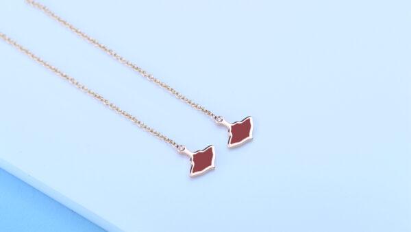 Logo Orecchini Oro Rosa Catena Smalto Rosso