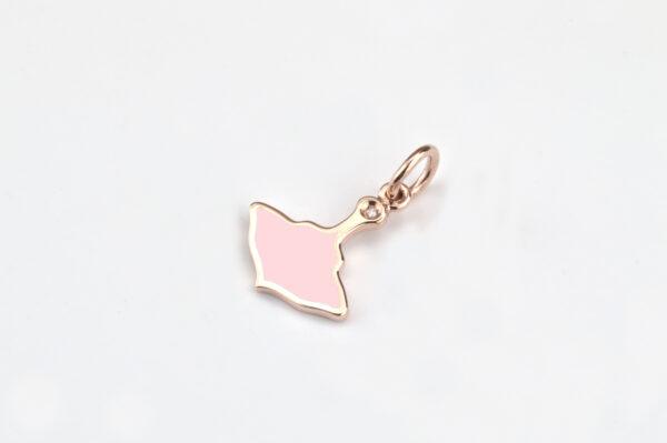Logo Ciondolo Oro Rosa e Smalto Rosa