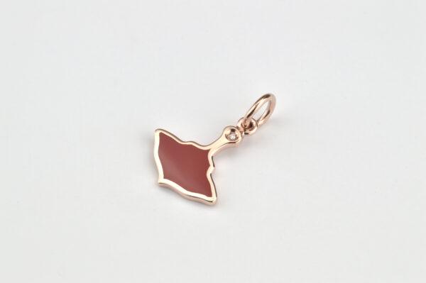 Logo Ciondolo Oro Rosa e Smalto Rosso