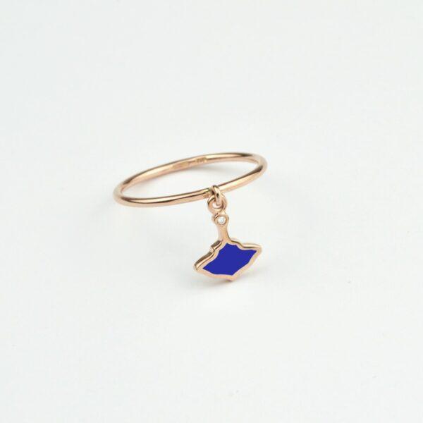 Logo Anello Oro Rosa Smalto Blu
