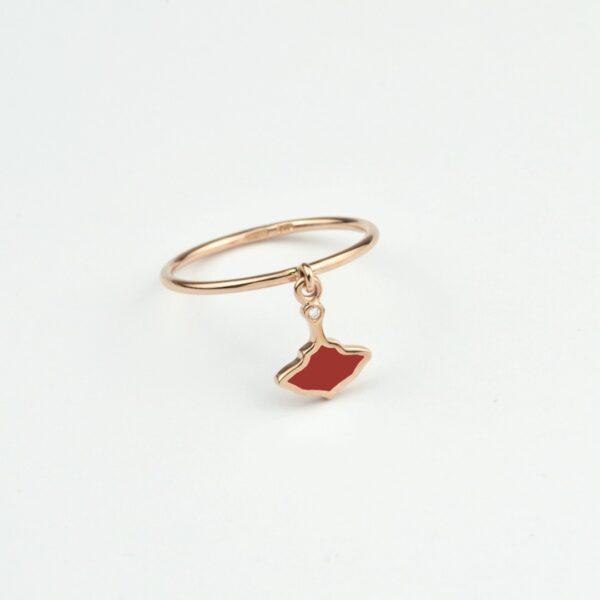 Logo Anello Oro Rosa Smalto Rosso